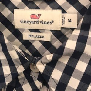 Vineyard Vines 14 gingham button down shirt top XL